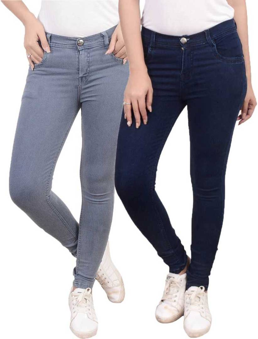Denim Multicoloured Solid Jeans Pack of 2