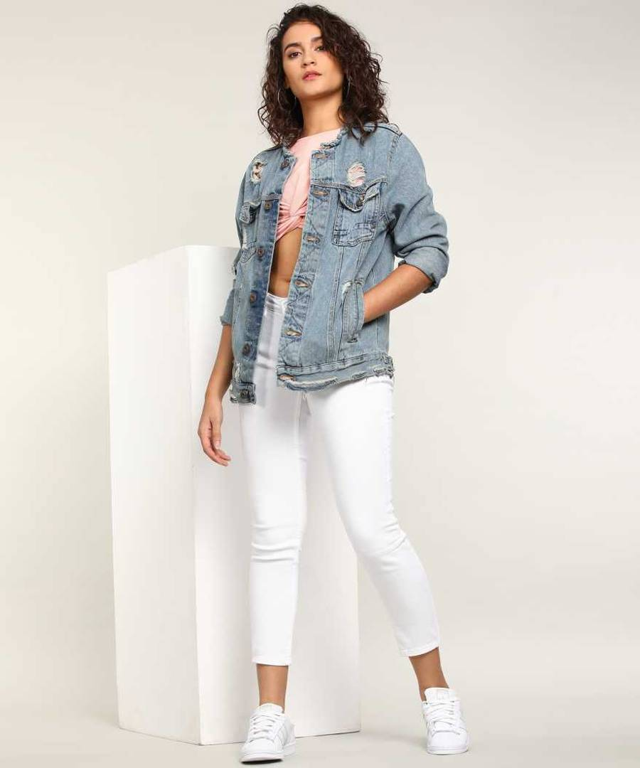 Denim White Solid Jeans