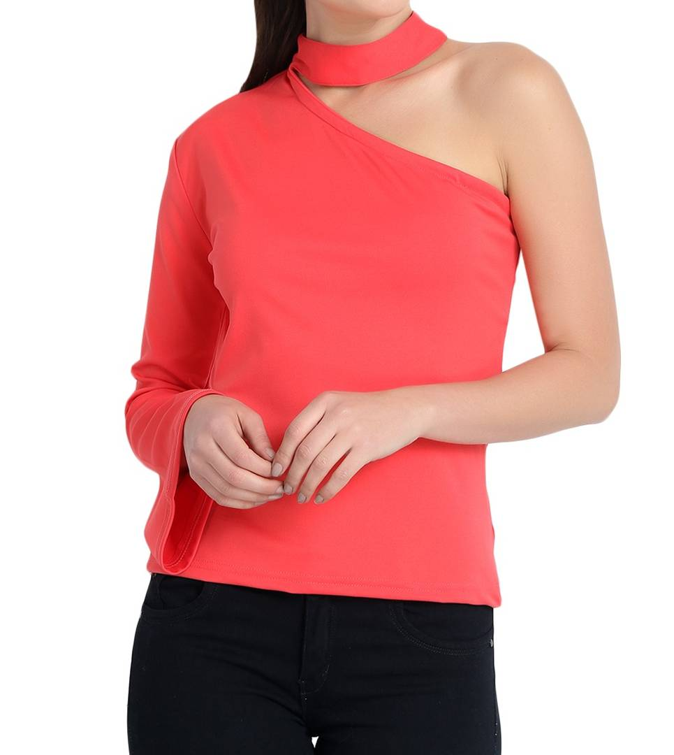Pink Cotton Blend One Shoulder Sleeve Top