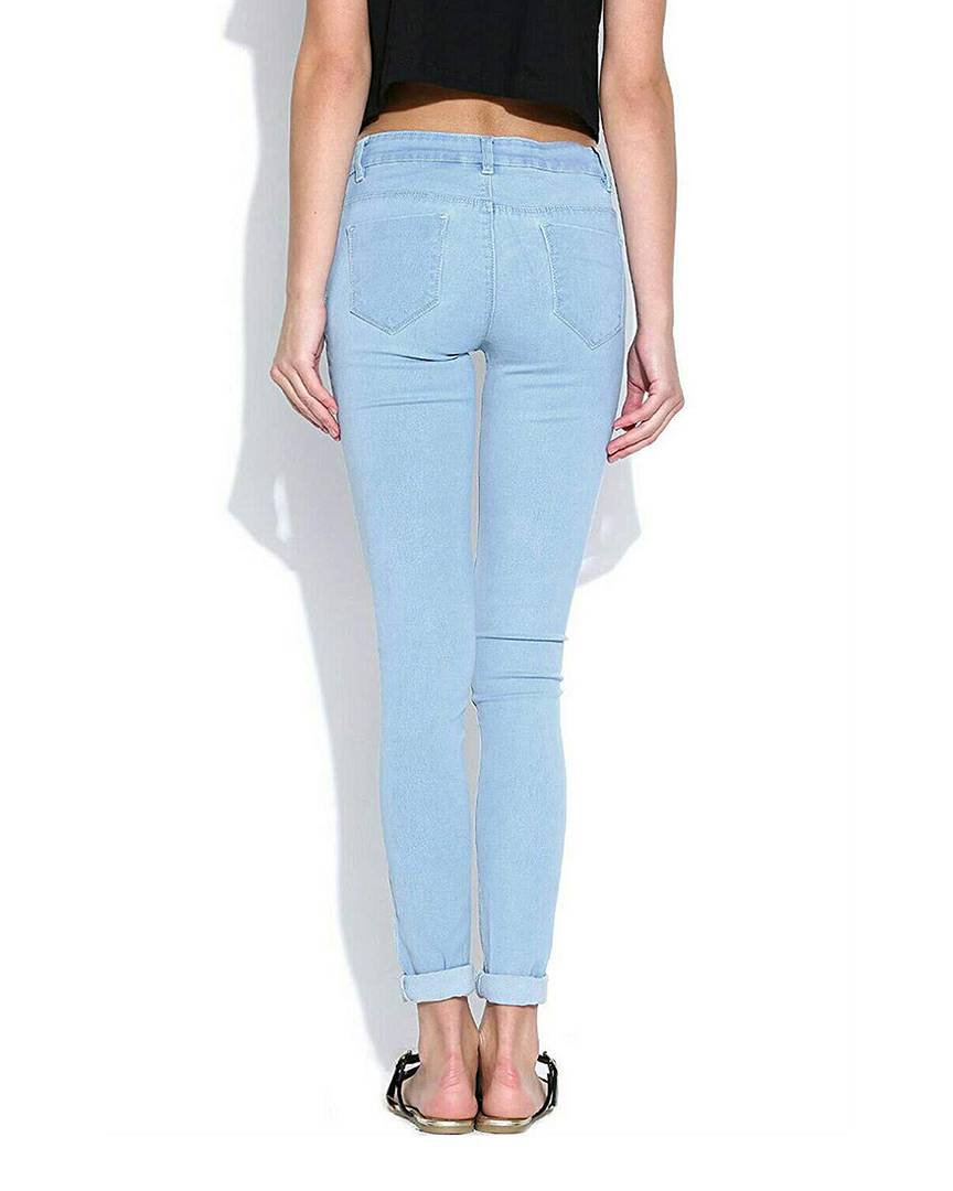 Women's Blue Colour Denim Mid-Rise Jeans