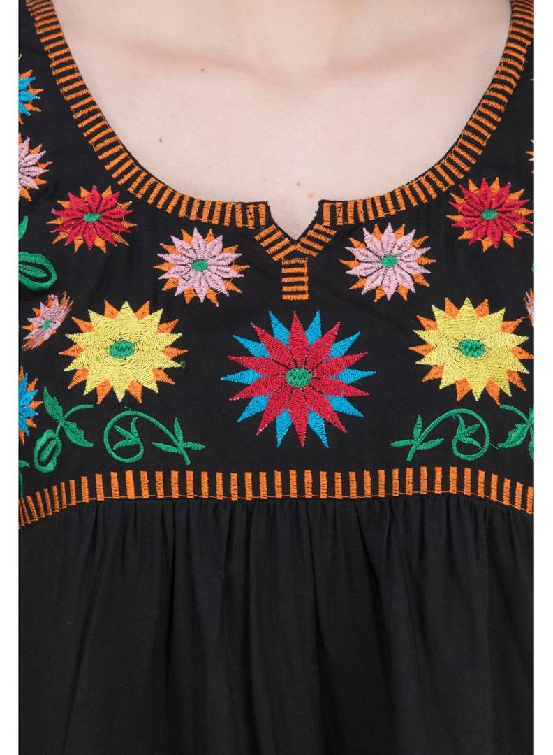 Women's Rayon Black Embroidered Top