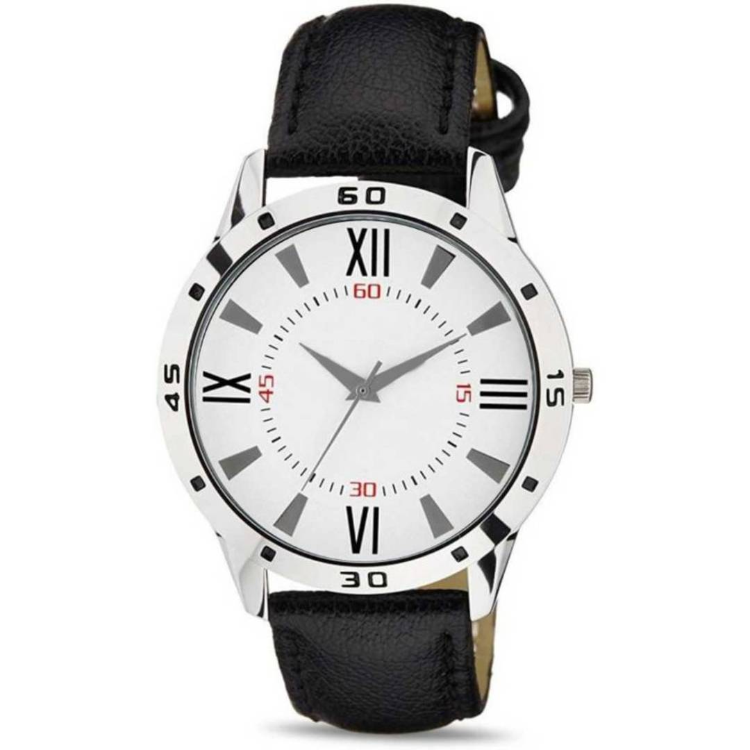 New Black Synthetic Leather Analog Wrist Watch for Men