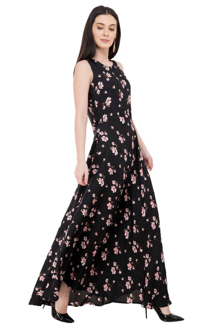Crepe Maxi Length Dress For Women's