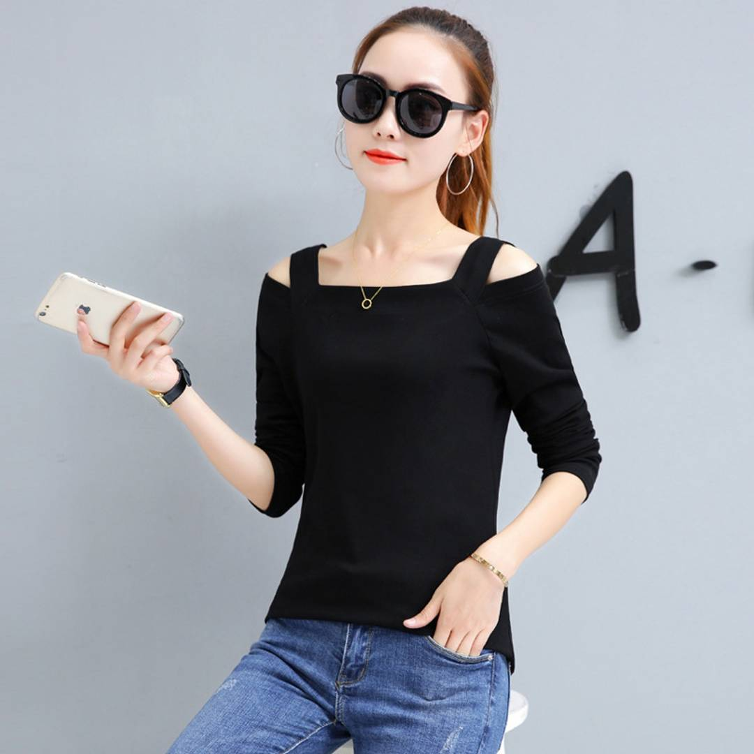 Black Solid Cold Shoulder Top