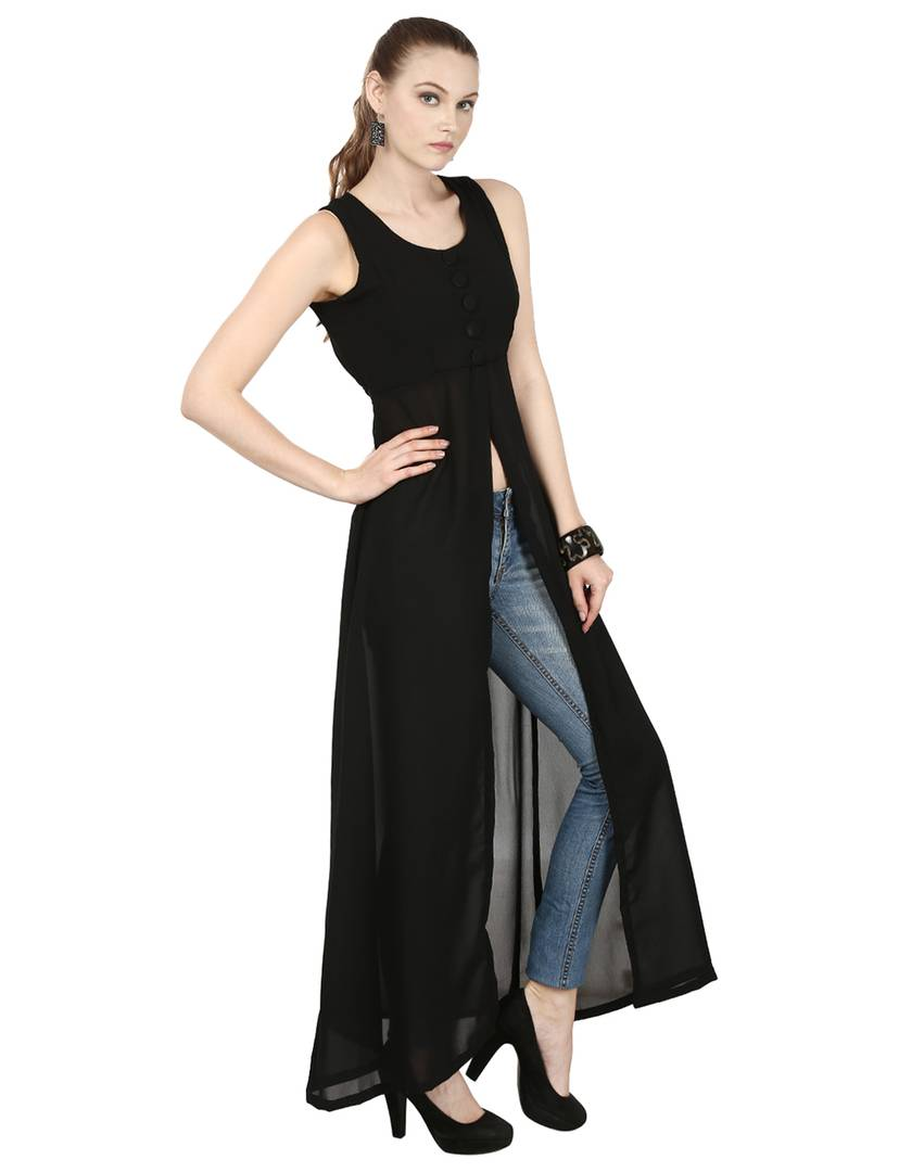 Black Round Neck Sleeveless Maxi Dress