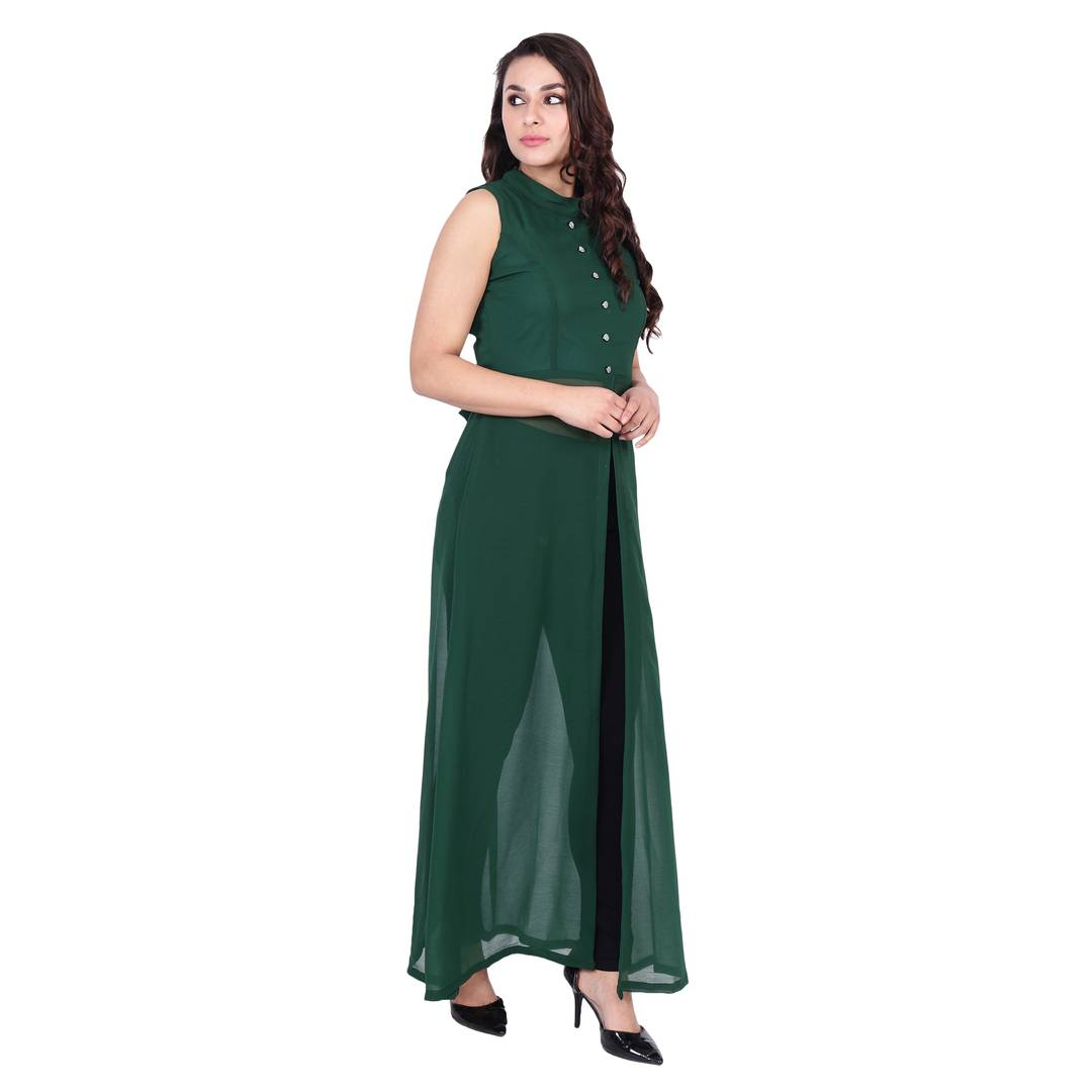 Mandarin Collar Green Color Sleeveless Full Length Maxi Dress