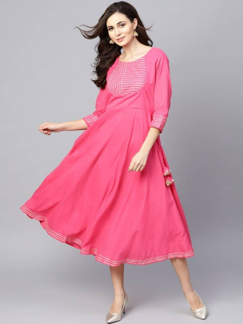 Women's Cotton Pink Solid A-Line Kurti