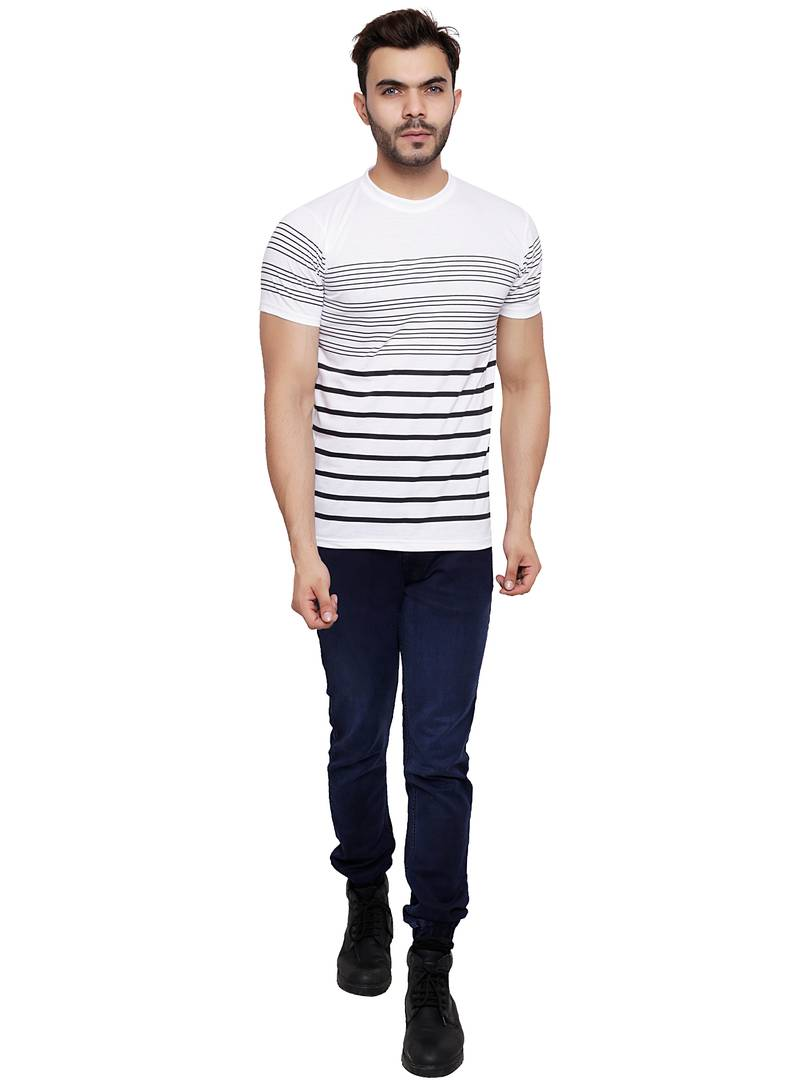 Men's White Cotton Blend Striped Round Neck Tees