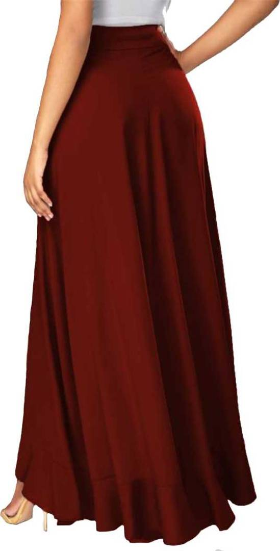 Women Maroon Crepe Solid Trouser