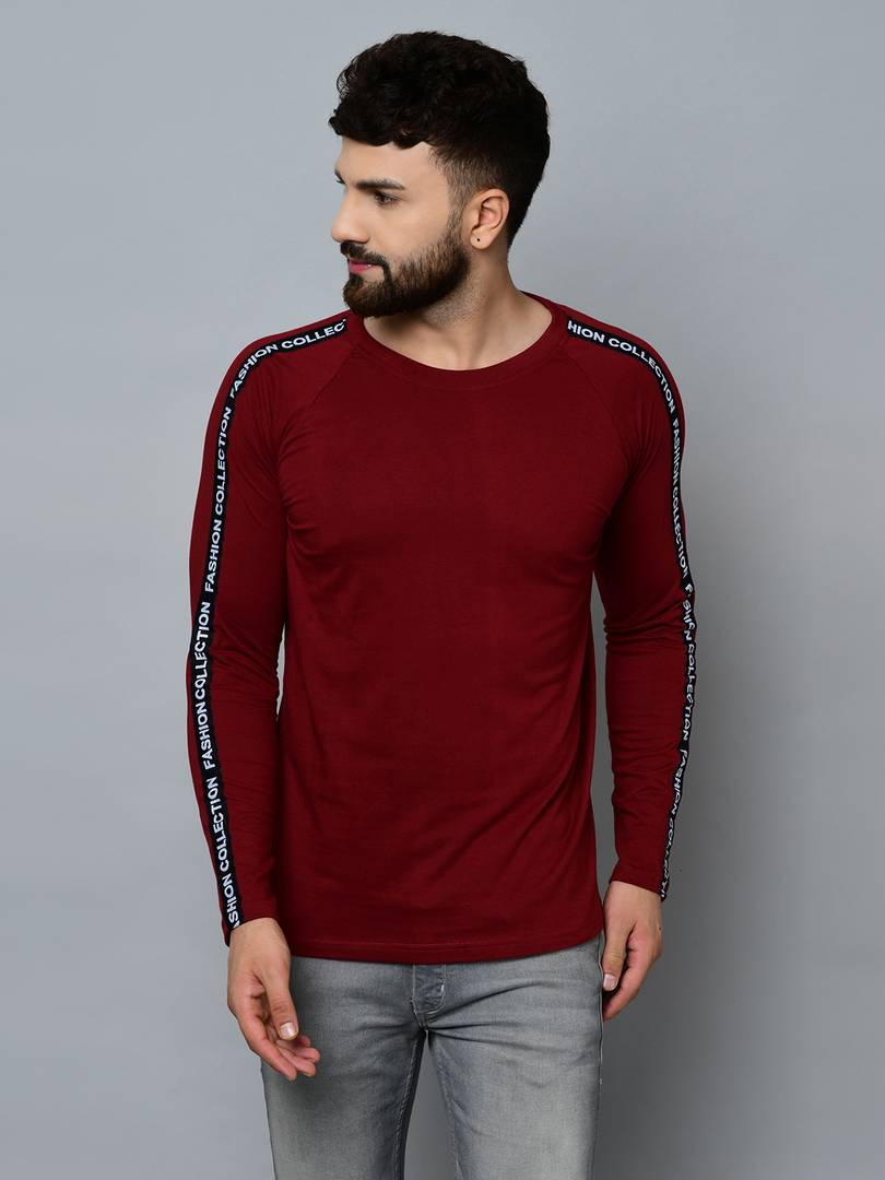 Men's Maroon Cotton Self Pattern Round Neck Tees