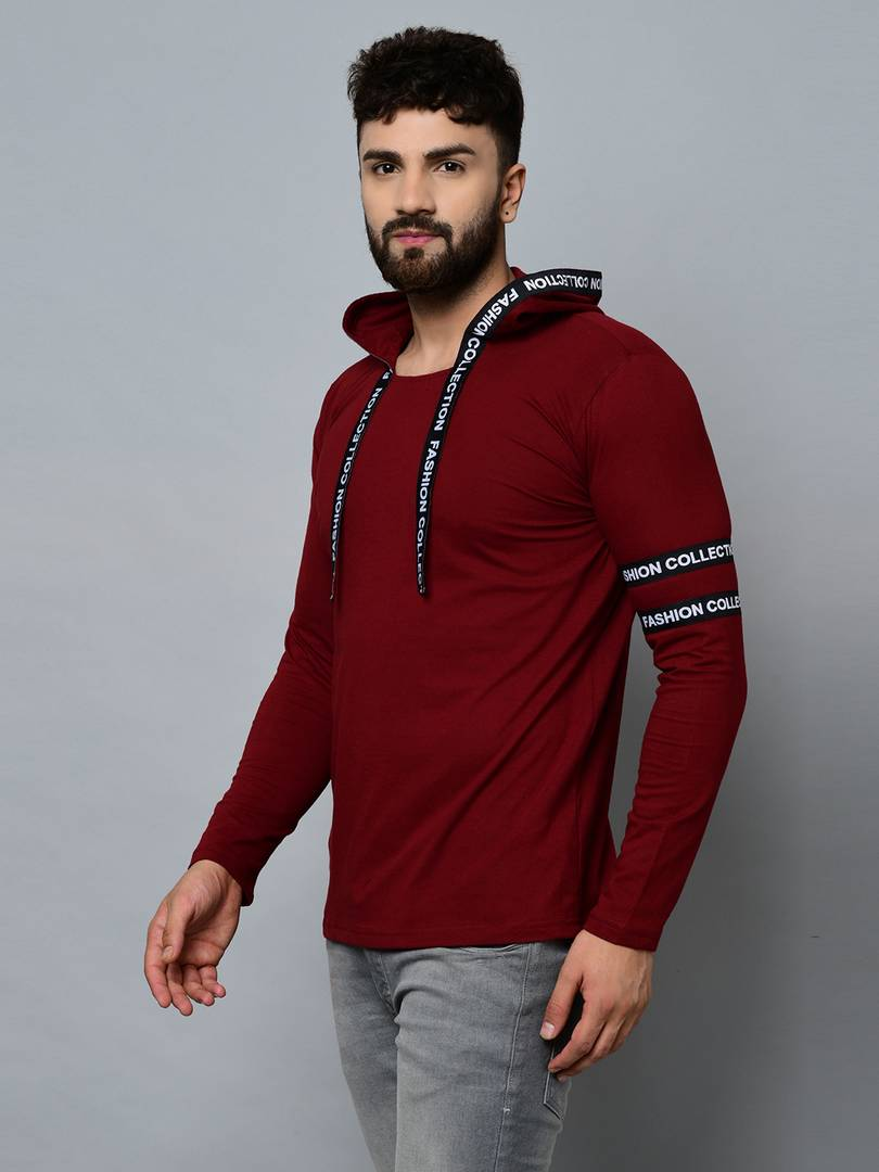 Men's Maroon Cotton Self Pattern Hooded Tees