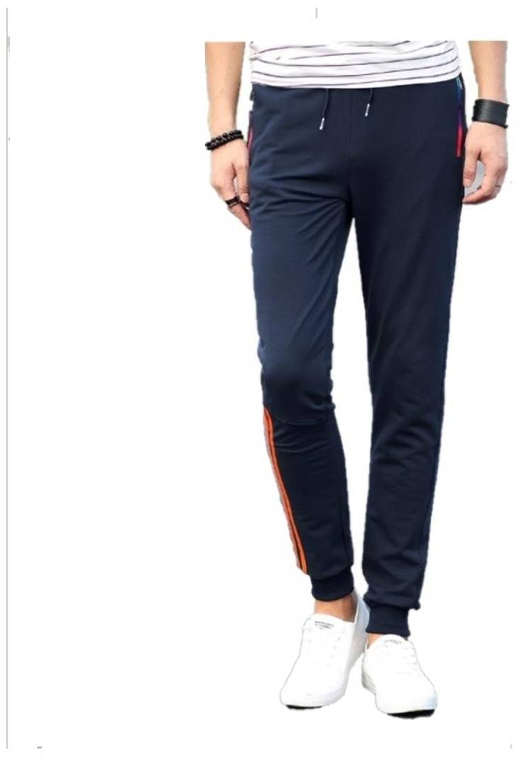 Men's Navy Blue Polyester Blend Self Pattern Slim Fit Joggers