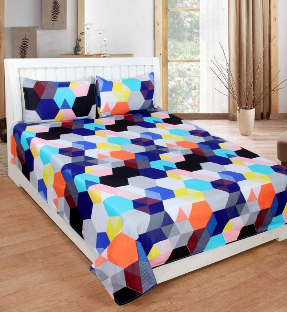 Attractive 3D Printed Double Bedsheet With 2 Pillow Covers (Thread Count 170)