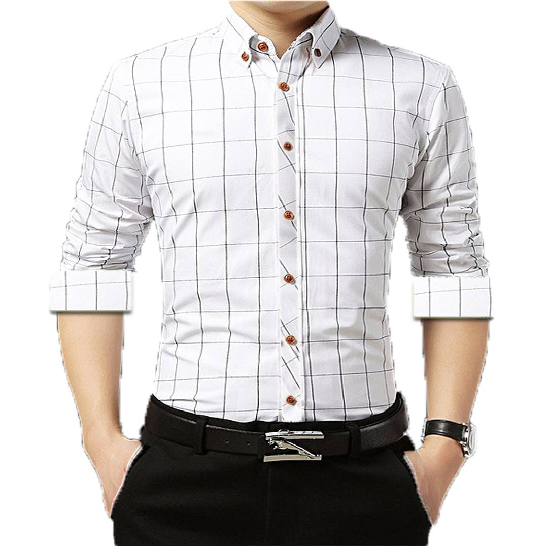 White Checked Cotton Slim Fit Casual Shirt