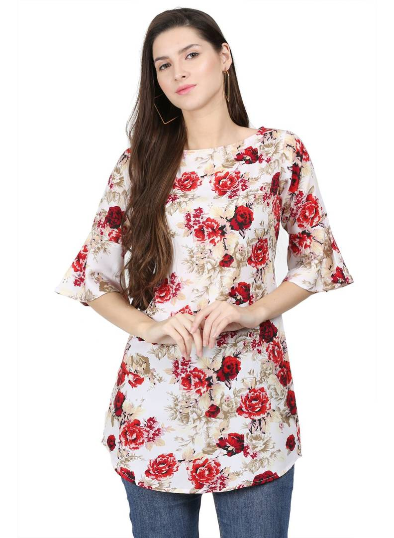 Floral Print Red Bell Sleeve Long Tunic Top