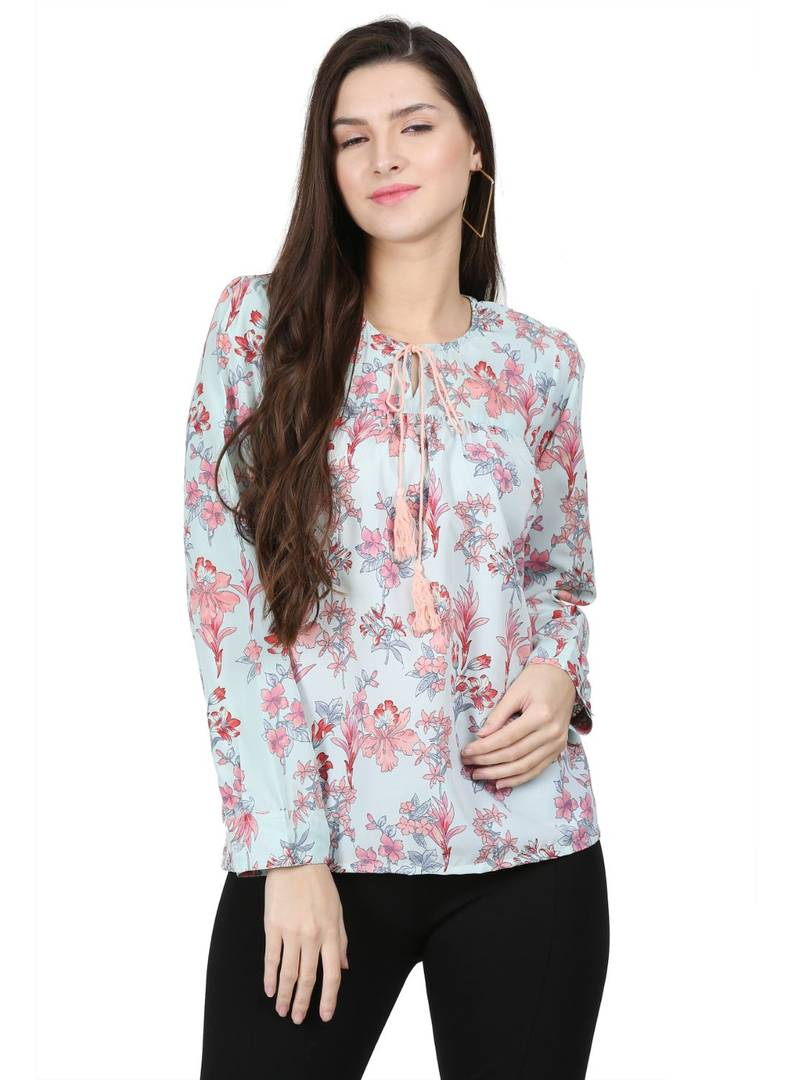 Fashionable Off White Crepe Printed Top