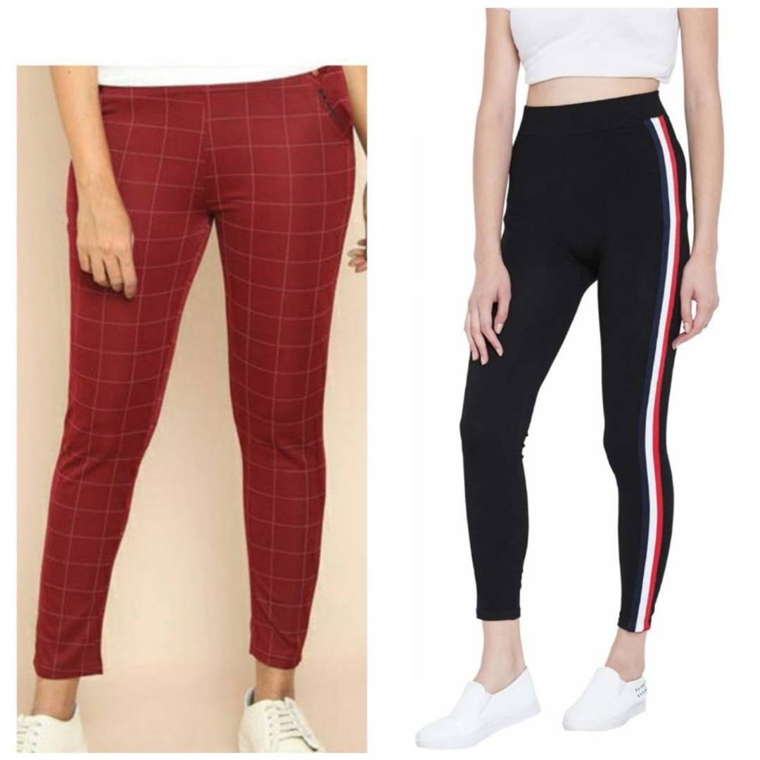 Women's Poly Cotton Jeggings Pack Of 2
