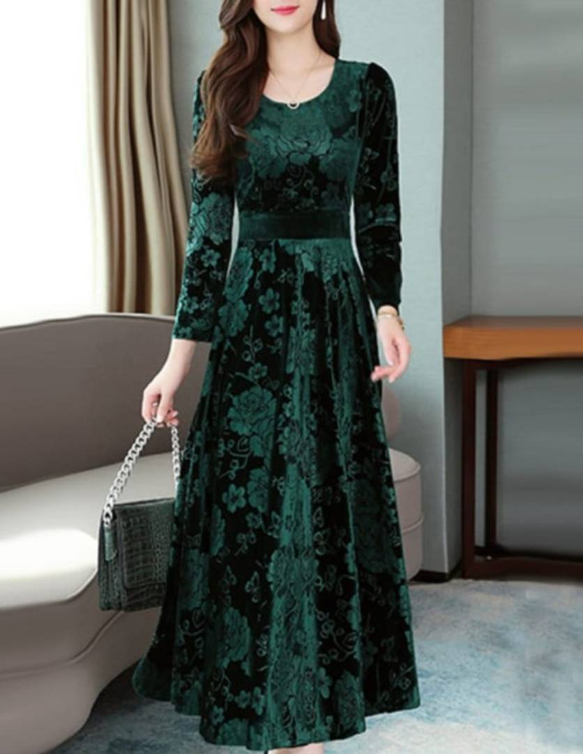 Green Self Pattern Velvet Long Dress