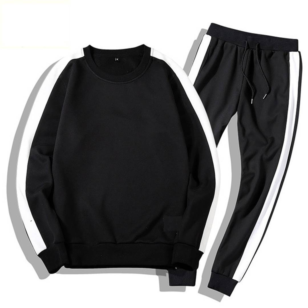 Men's Self Pattern Slim Fit Black Fleece Tracksuit