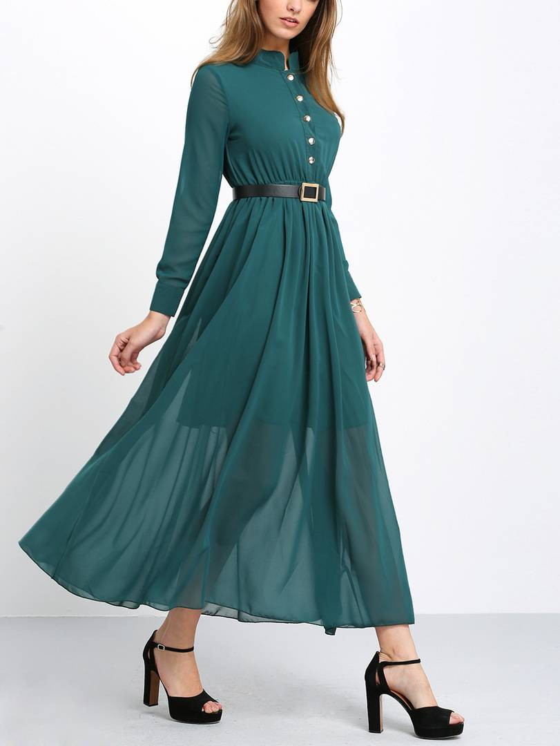 Green Belt Collar Long Maxi Dress