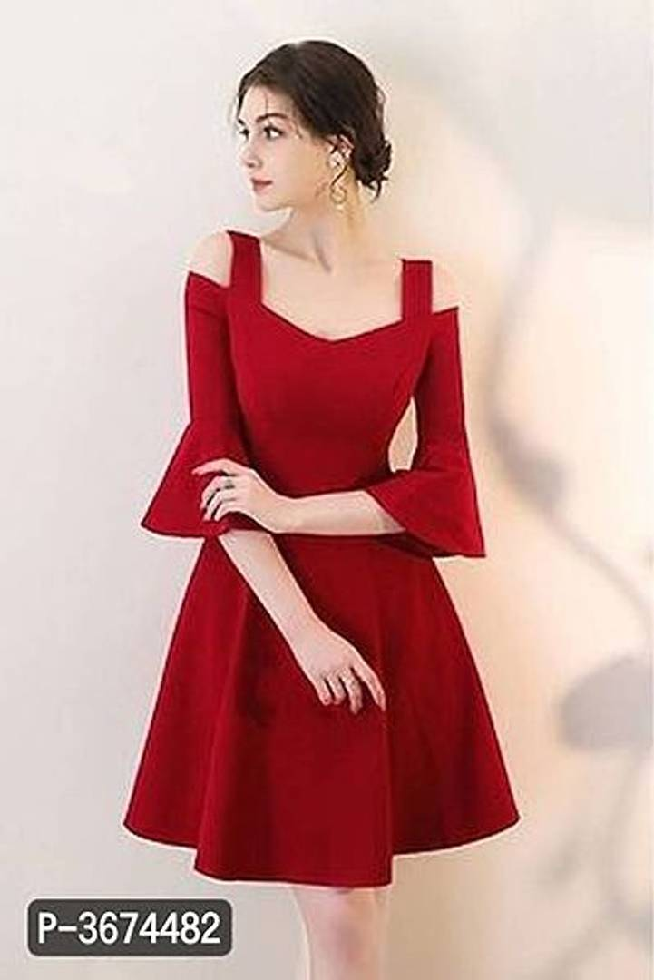 Women Red Bell Sleeve Cold Sholder Hosery Short Dress