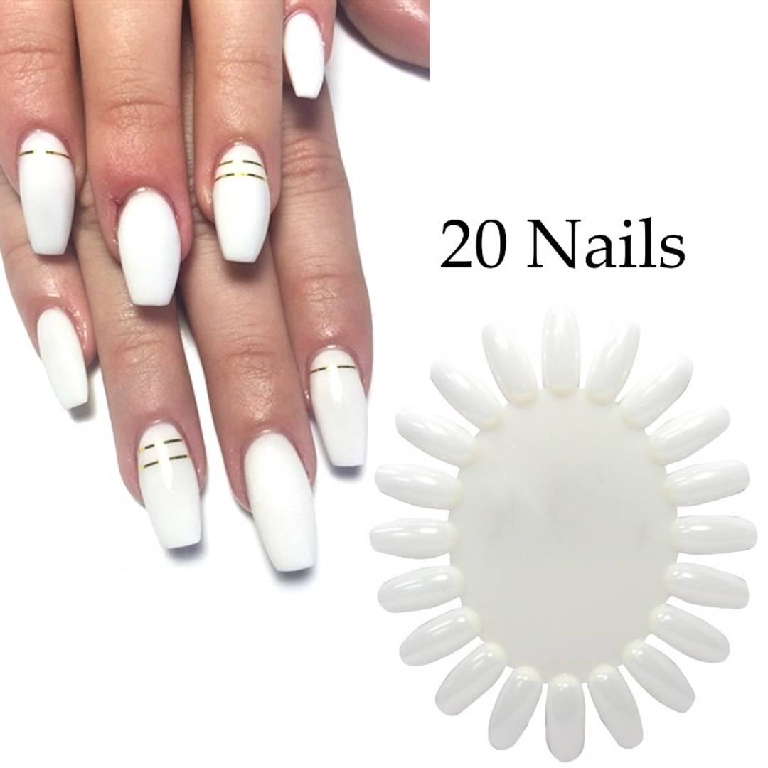 Nail Art Display Natural Wheels 20 Tips Trainers Practice Ellipse Plastic Gel Polish Plate