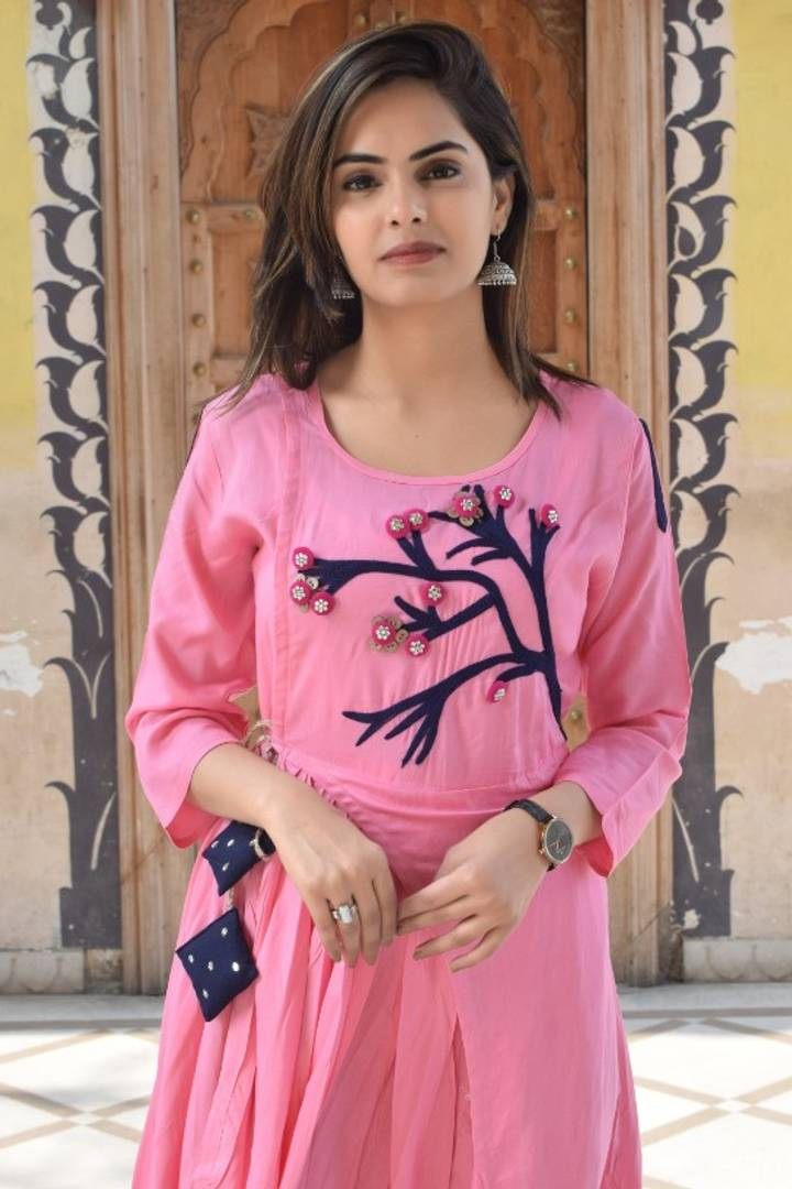 Exclusive Designer Rayon Slub Embroidered Kurtas