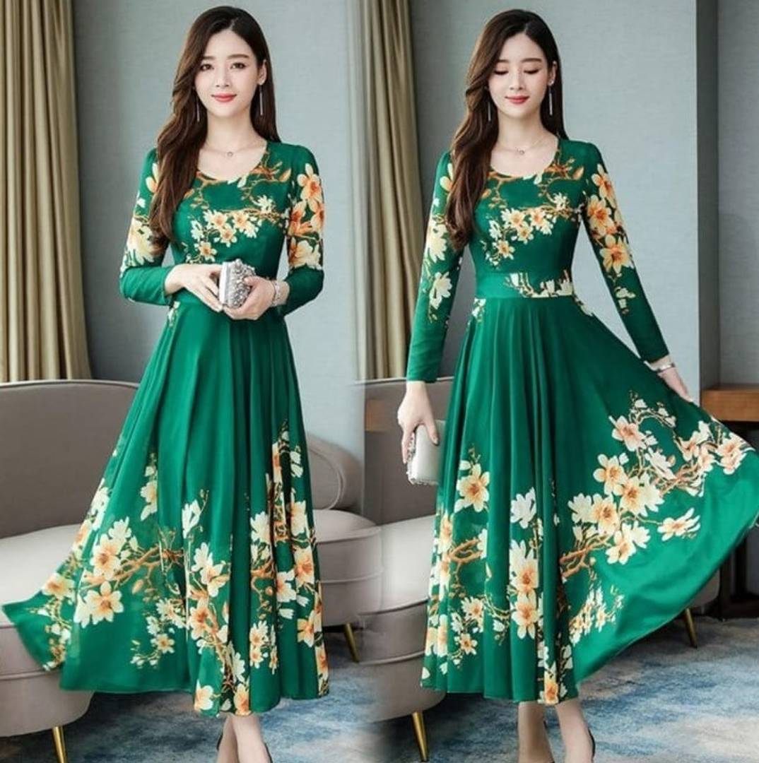 Green Floral Print Long Maxi Dress with Full Sleeve