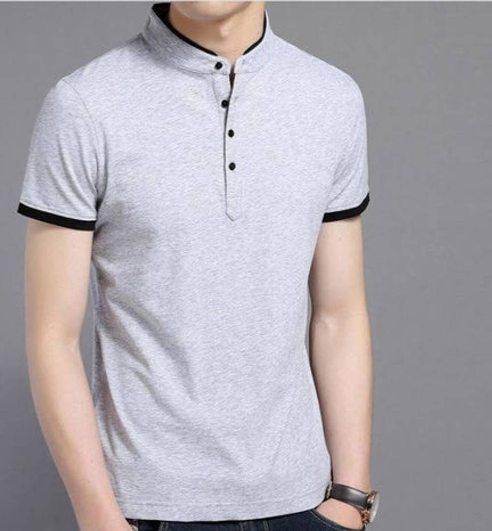Men's Trendy Solid Cotton Mandarin T Shirt