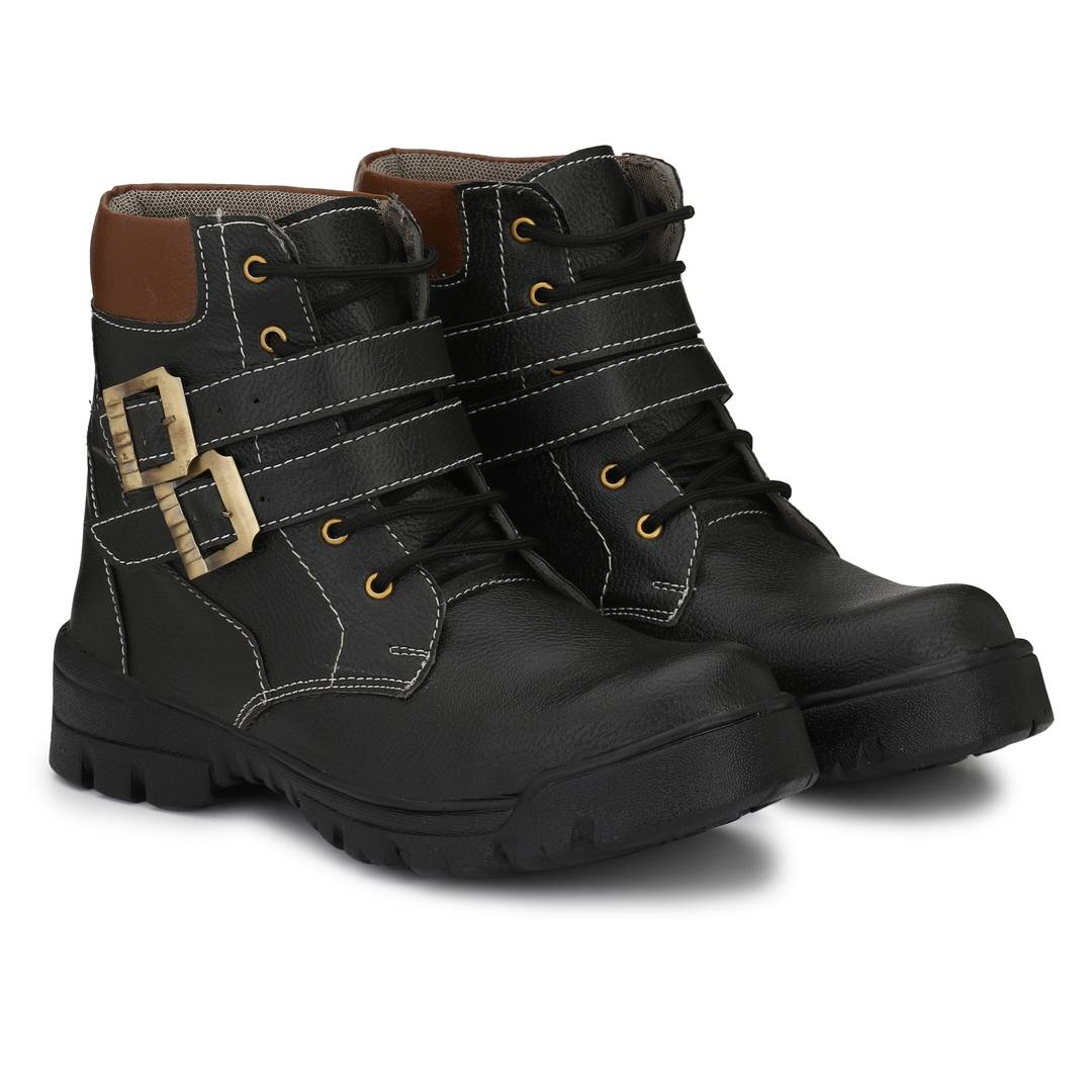 Leatherette Black Heavy Duty Buckle-Up Military High Ankle Length Casual Long Boot