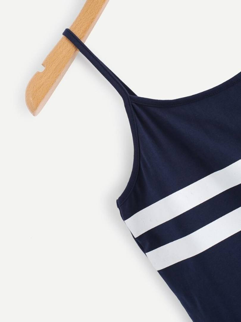 Vivient Women Nevy Blue White Strip Camisole Top