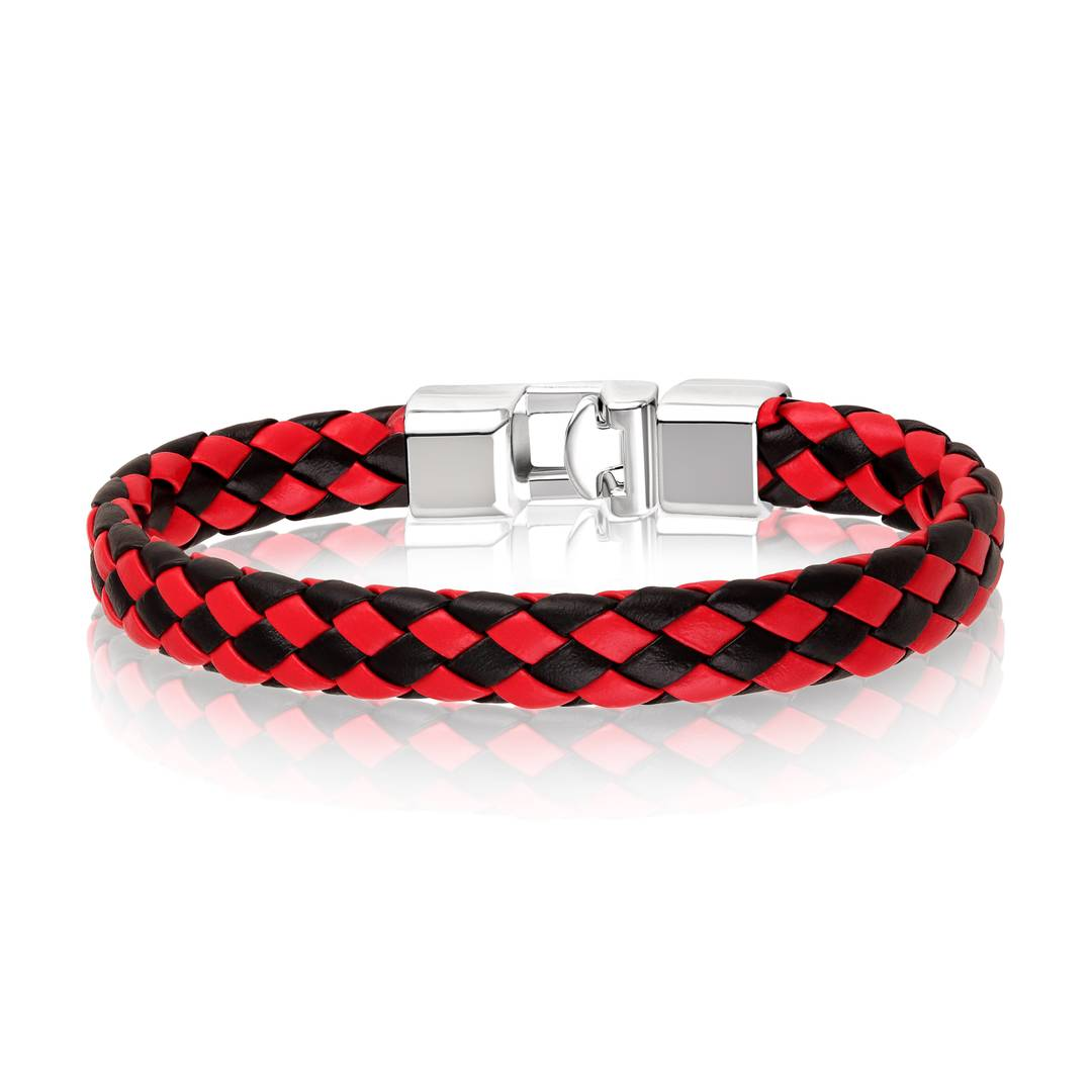 Stylish Multicoloured Leather And Stainless Steel Silver Plated Bracelet For Men