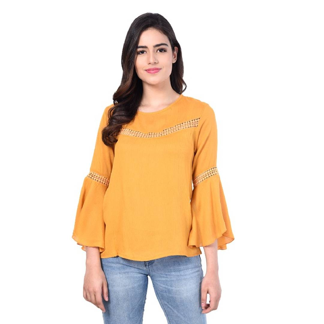 RBT- MUSTRD FRNT LACE BELL SLEEVE TOP