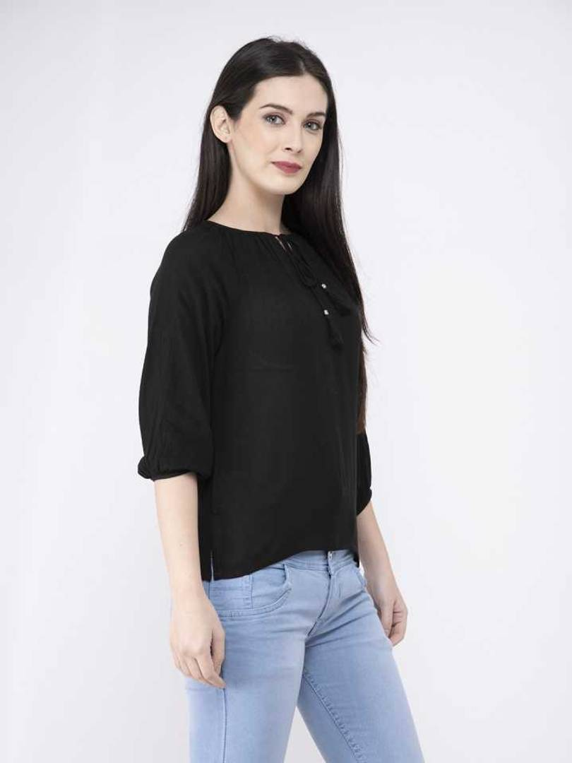 Stylish Rayon Crepe Solid Black Top For Women