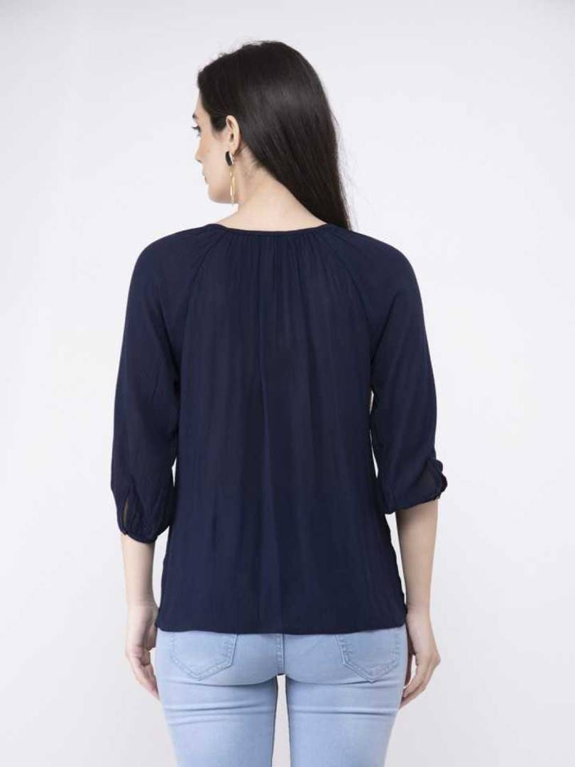 Stylish Rayon Crepe Solid Navy Blue Top For Women