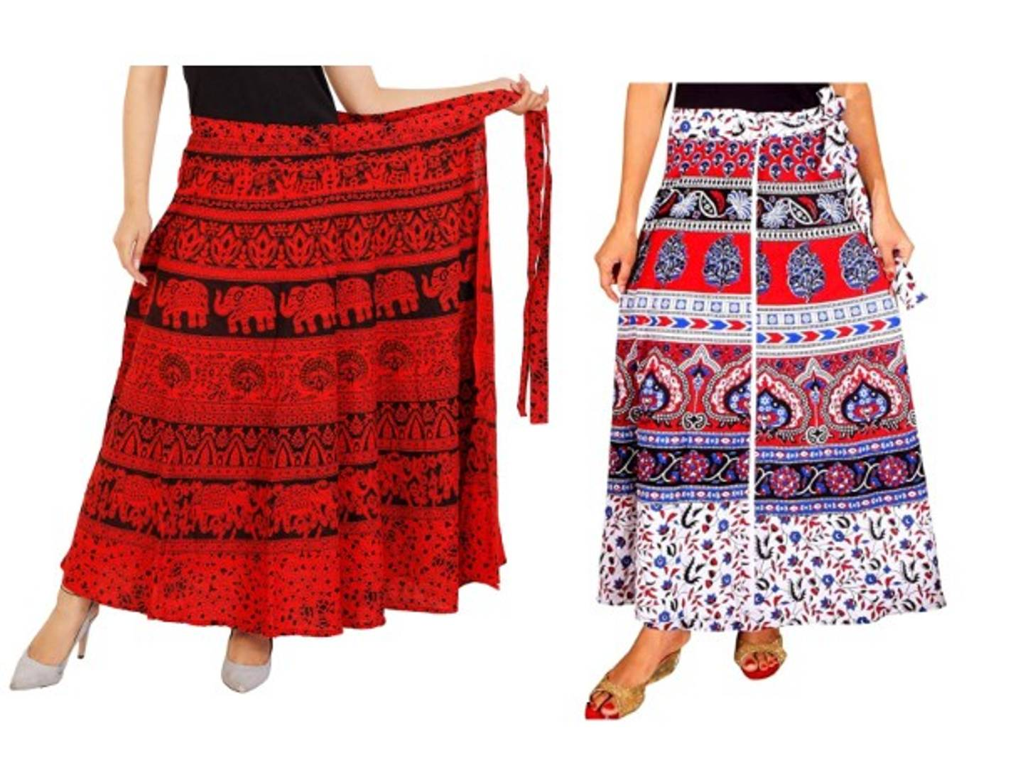 Women's Jaipuri Print Cotton Wrap Around Long Skirt ( 2 skirts combo.)