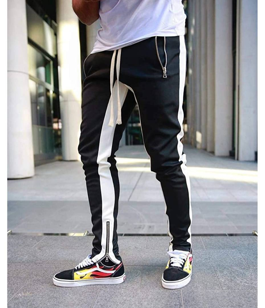 Elegant Black Solid Cotton Blend Joggers For Men