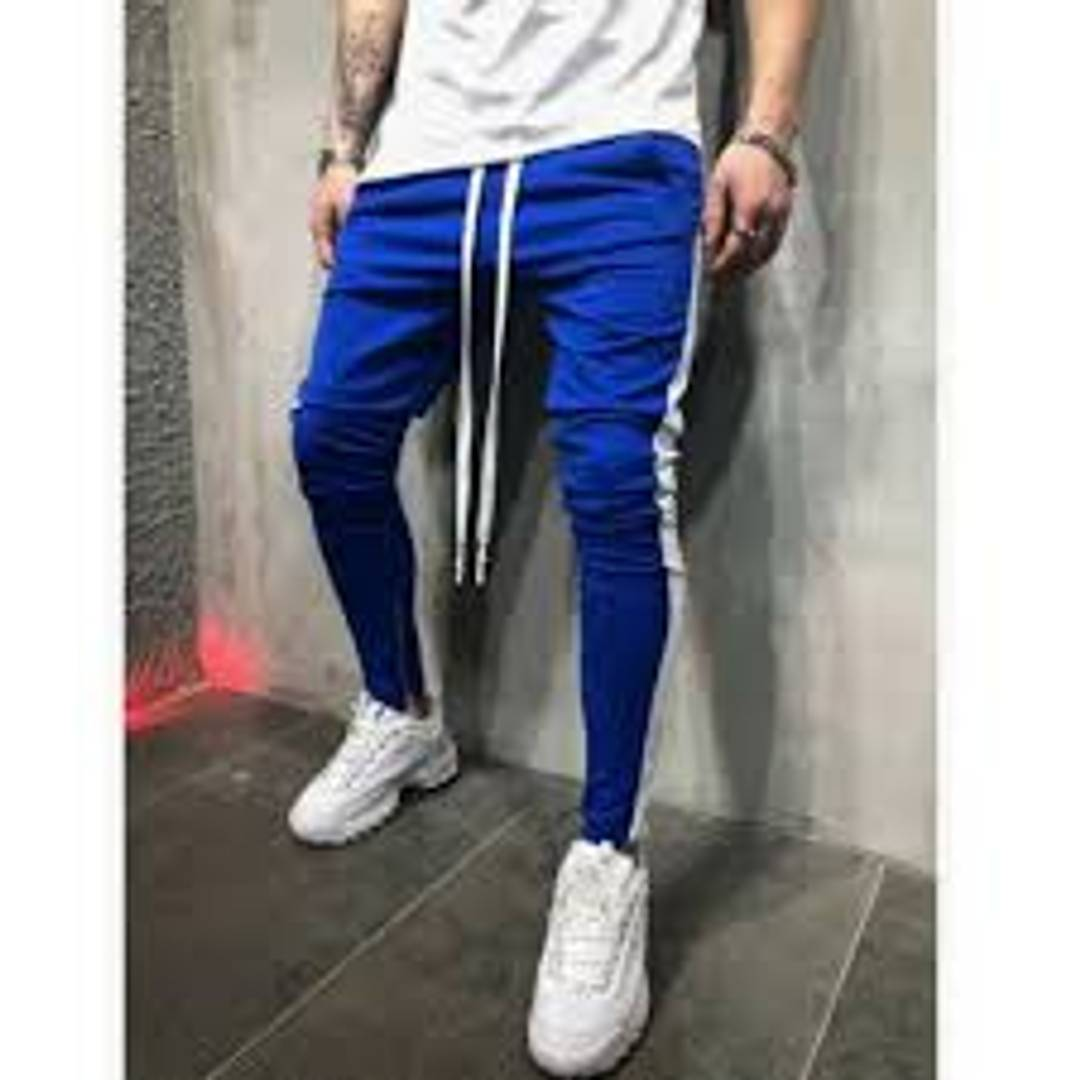 Elegant Blue Solid Cotton Blend Joggers For Men