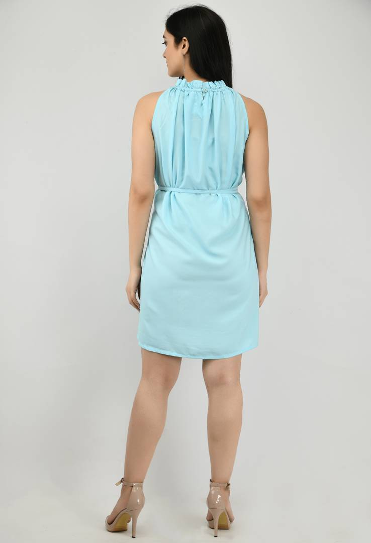 Modern Turquoise Crepe Fit And Flare Dress For Women