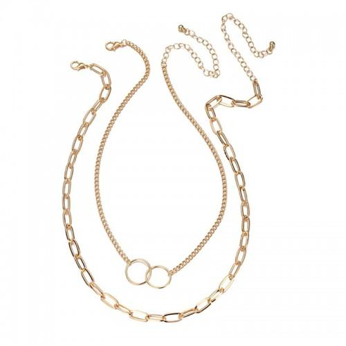 Mesmerizing Cross Ring Lon Chain Gold Plated Necklace