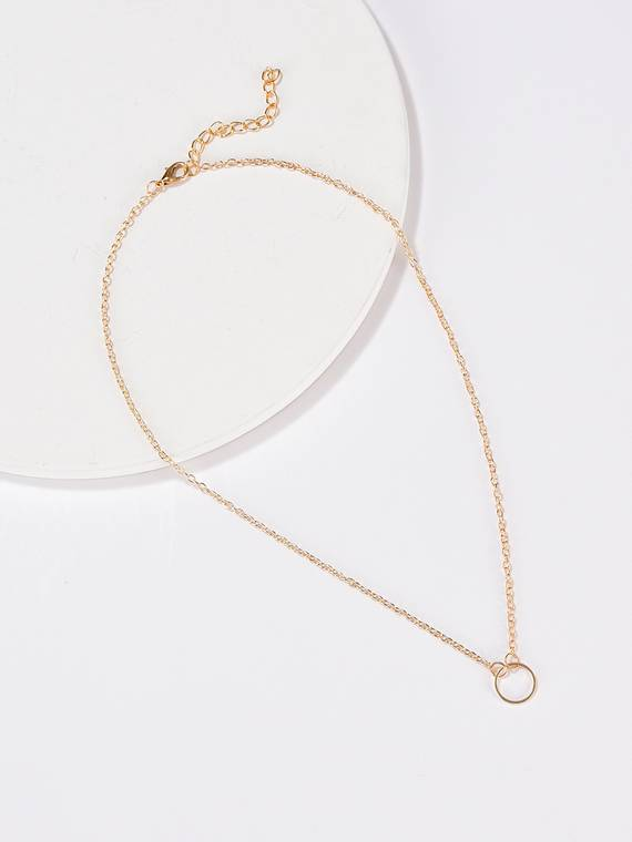 Circle Gold Color Chain Necklace