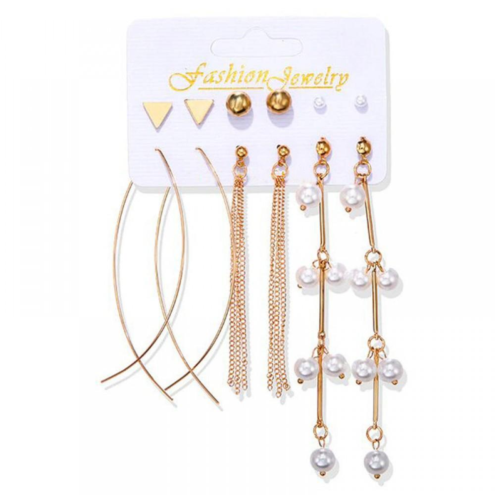 Gold Plated Set Of 6 Stud & Drop Earrings