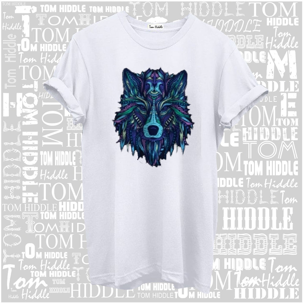 Galaxy Wolf White Cotton Half Sleeve T-shirt