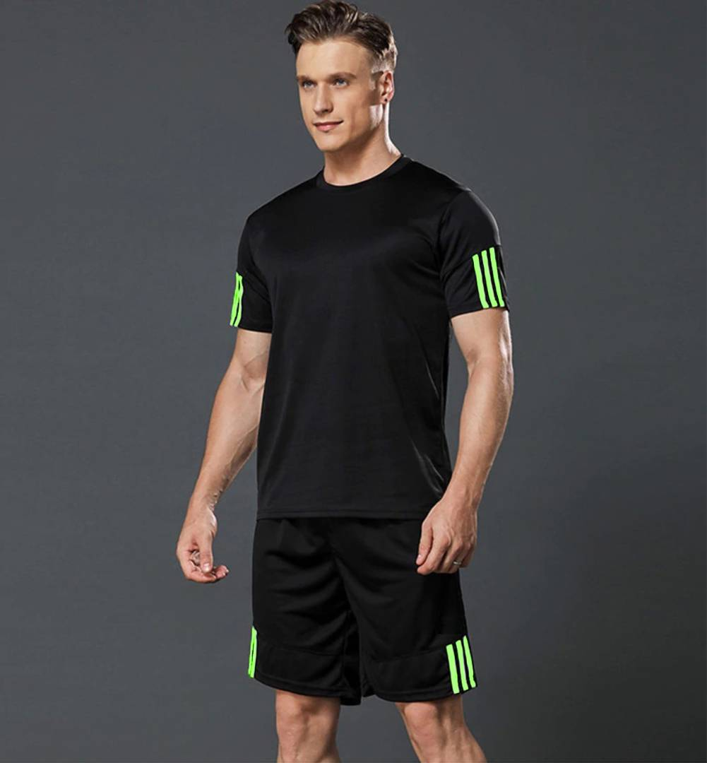 Men's Sports T Shirt & Shorts Set - Black