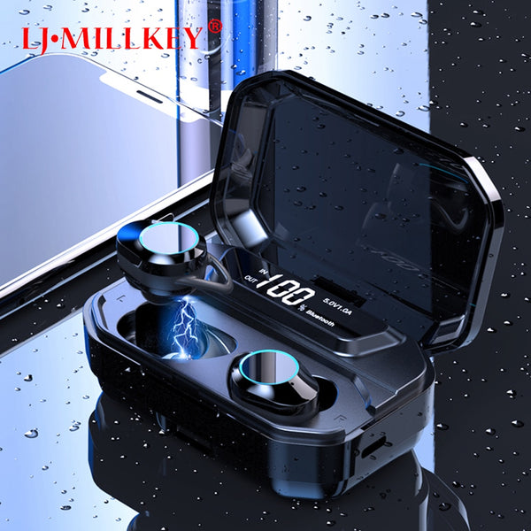 Bluetooth 5.0 Wireless True Earphone TWS Sport Earbuds 10M Connection Stereo Earphone IPX6 Waterproof Black YZ276