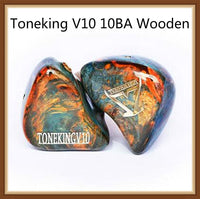 TONEKING V10 10 Balanced Armature 10BA Wooden Hifi Music Monitor Studio Customized Hand Made MMCX Earphone Earbuds