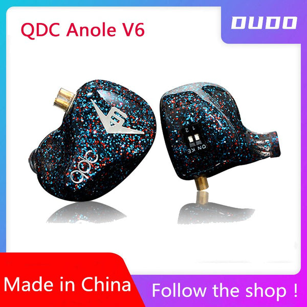 QDC V6 Anole Six-unit Balanced Armature 6BA professional HiFi In-ear Earphones Multi-tuning V6 Standard Edition PK  VX