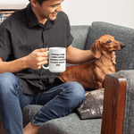 Petting a dog while eating another animal is some weird shit Vegan Funny Animal rights Mug