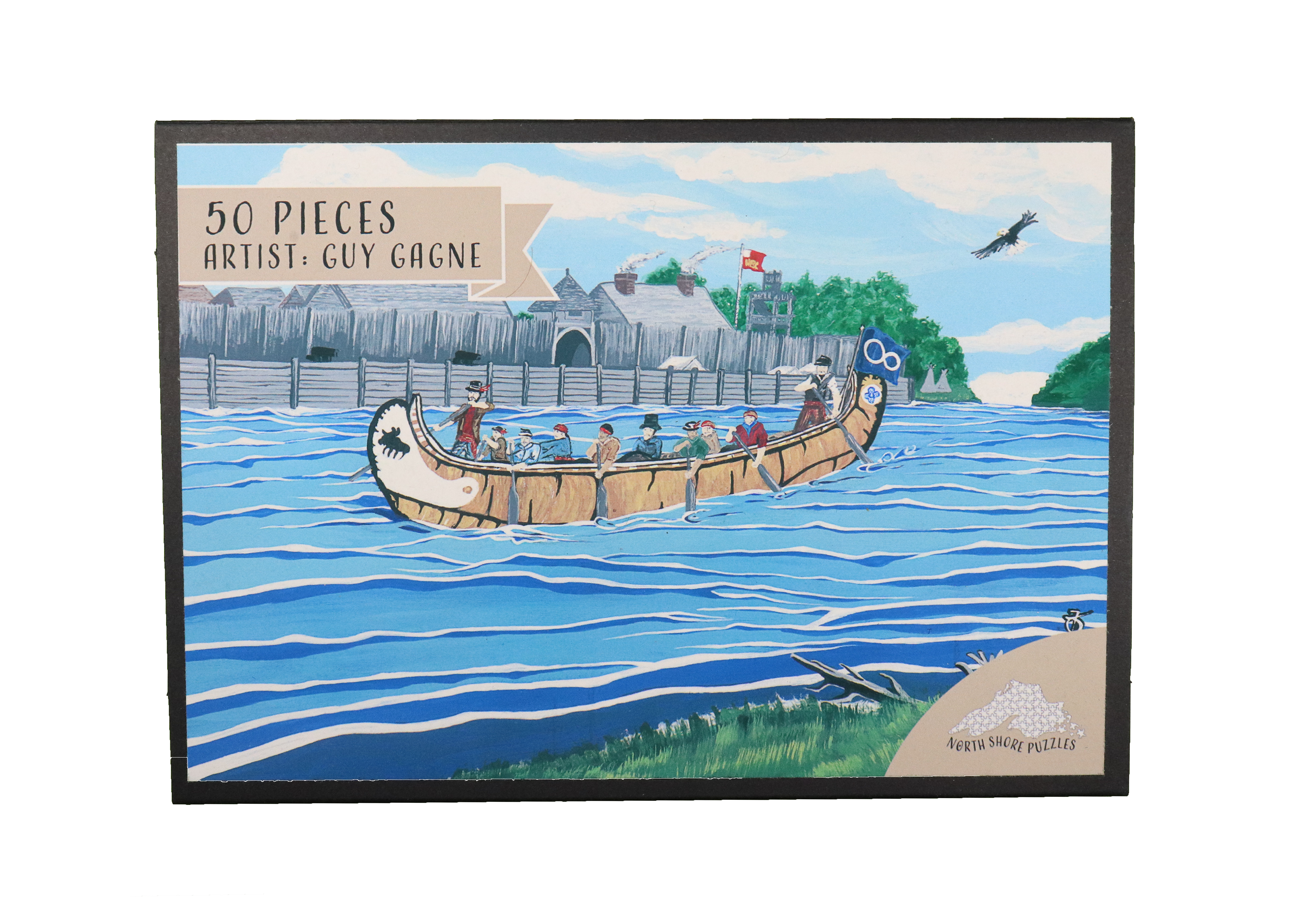 Old Fort William puzzle box in collaboration with Metis artist Guy Gagne by North Shore Puzzles