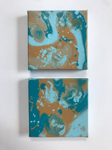 "5x5"" Blue & Brown Set of Two Canvas Panels"
